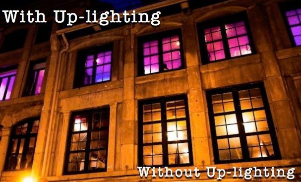 With & Without Up-lighting at a wedding or event
